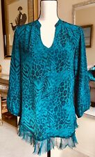 Rebecca Taylor Peasant Top Blouse Ruffle Accent Animal Leopard Print  Silk 4 S