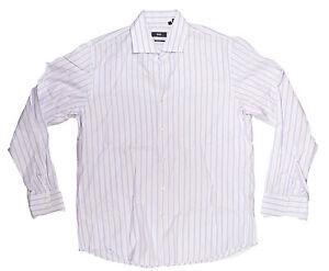 HUGO BOSS Gerald Uomo Camicia Regular 16.5 Bianco/Lavanda Nuovo