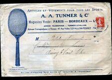 "LEVALLOIS-PERRET (92) MATERIEL & VETEMENTS TENNIS / SPORTS ""A. TUNMER"" en 1913"
