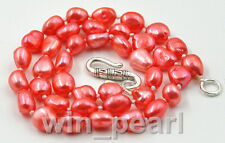 """New 8-9mm watermelon red baroque freshwater cultured pearl Necklace 17"""""""