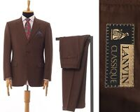 Mens LANVIN Classique Two Piece Suit Blazer Trousers Wool Brown Size 40 50