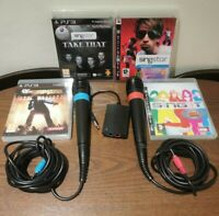 Pair Of Wired Singstar Microphones Bundle With 4 Singing Games PlayStation 3 PS3