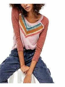 FREE PEOPLE Womens Pink Printed Long Sleeve Jewel Neck Top Size: M