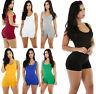 New Womens Sleeveless Shorts Romper Jumpsuit Bodysuit Stretch Leotard Sportwear