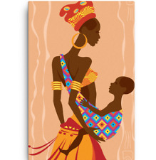 African Black Mother Holding Child Canvas Art Painting 16x20, 18x24, 20x36
