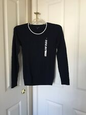 Women's Tommy Hilfiger Crew Neck Cable Deep Knit Navy Blue Sweater Sz M