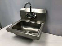 "All Stainless Steel Hand Sink 15"" x 17"" Wall Mount w/ 4"" Center Gooseneck Faucet"