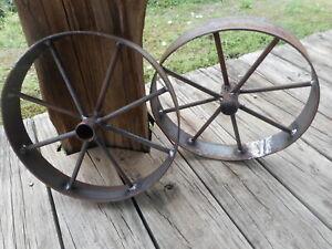 "2) 12"" steel ornamental Iron Wagon Wheel western rustic art cart Barbecue pit"