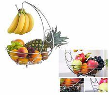 Banana Hanger Holder Chrome Fruit Basket Bow Rustproof  Rack Stand Storage NEW