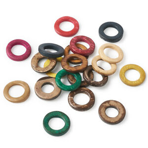 20pcs Colorful Donut Wood Beads Coconut Linking Rings Pendant Findings 20~23mm