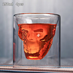 Skull Double Wall Glass Coffee Mug Cup Skeleton Halloween Party Drinks Latte F7