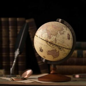 Vintage Geographical World Globe Map Earth Constellation Wooden 5 Inch Globe