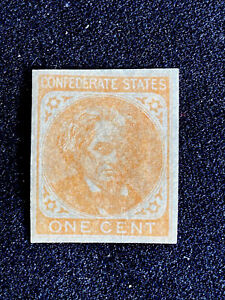 Confederate Stamp Scott 14, A10 No Gum, Lightly Hinged , One Cent