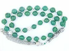 8mm x33 GREEN AGATE Akeek Kori Akeek Akdar PRAYER BEADS ISLAMIC TASBIH GIFT
