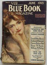 Rare Antique June, 1918 Blue Book Magazine Highly Regarded Popular Literary Pulp