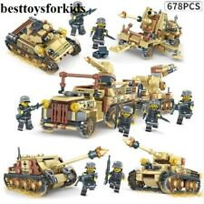678pcs Lego World War 2: 4IN1 with Tank Model Russian T-34 Medium Weapons Blocks
