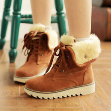 Women Winter Furry Flat Shoes Lace Up Matte Short Mid-Calf Snow Boots Plus Size