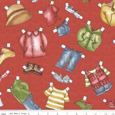 Camping Paper Doll Fabric CLOTHES red BTY Dolly Dingle cotton quilting NEW hike