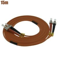 15M ST-ST Fiber Optic Duplex Multimode 62.5/125 Optical Patch Cable Cord Orange