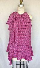 $965.00.Thomas Wylde 100% Silk Pink Scull Print Ruffle Top. Sz. S