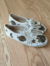 80s/90s Vtg Fully Beaded Sun Moon Stars White Tennis Shoes Size 7 Ms. Frizzle