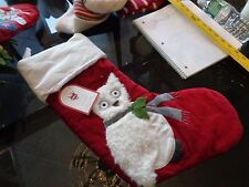 Pottery Barn Kids velvet Owl Stocking Christmas New
