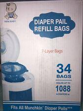 Diaper Pail Refills, 34 Bags 7 Layer, Fits All Munchkin Diaper Pails         B4