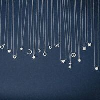 Women Heart Star Moon Pendant Necklace Silver Clavicle Chain Choker Card Jewelry