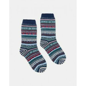 Joules Lucille Fairisle Boot Socks - Navy Fairisle - One Size UK 4-8 - BNWT