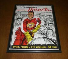 1961-62 PITTSBURGH HORNETS FRAMED PROGRAM COVER PRINT