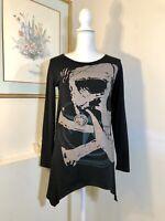 Allegra K Womens Tunic Black Top Skull Design Size S Asymmetrical L/S Goth