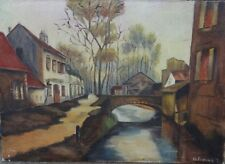"""T. Hellemans """"Häuser a Kanal"""", Öl/Leinen, 50x70 cm  (215/12077)"""