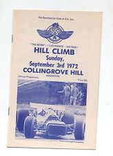 1972 Collingrove Hill Climb Programme Touring Racing Sports Vintage Production a