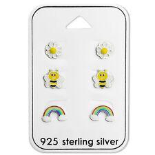925 Sterling Silver Rainbow  Bee Daisy Flower Stud Earrings Studs Girls Women