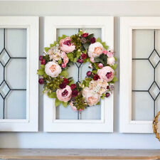 Artificial Peony Wreath Vintage Garland Hanging Flower Wreath Door Wall Decor