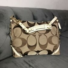 Authentic Coach 11648 Signature Carly Bag Jacquard/Leather Hobo/Shoulder