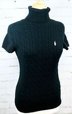 Ralph Lauren Sport 100% Cotton Turtleneck Short-Sleeve Sweater Black Size Medium