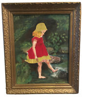 Young Girl In Red Dress In The River Oil Painting Signed By L. Harder Gold Frame