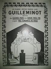 PUBLICITE DE PRESSE GUILLEMINOT PLAQUE PHOTO PIERROT ILLUSTRATION VIRTEL 1925