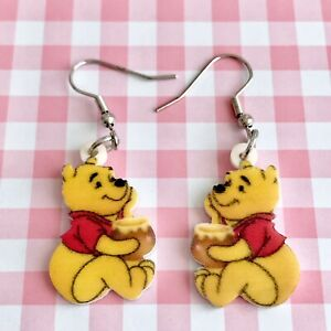 Cute Winnie The Pooh Bear Dangle Fun Earrings/ Quirky/ Novelty