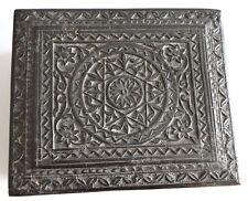 ANTIQUE NAGINA EBONY CARVED WOODEN BOX HEXAGRAM STAR OCCULT TAROT CARD c1880