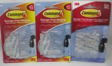 18 3M Command Mini Clear Hooks Plastic 17006CLR-ES Keys Jewelry Hanging 3 x 6