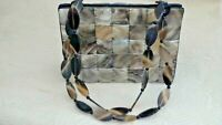 """Twisted Orchid Horn Bag 8.5"""" x 6"""" Horn Straps Lined Black Original Tag Metal Fee"""