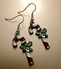 Candy Cane Christmas Novelty Drop Earrings Xmas Party Secret Santa Gift Handmade