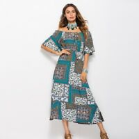 Fashion Womens Boho Print Off The Shoulder Floral Short Sleeve Long Skirt Dress