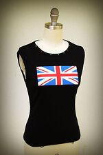 FANG Tank Top Size M Junior Union Jack British Flag Bling Ribbed Cotton Black