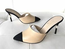 2016 CHANEL BEIGE LEATHER MULE SHOES WITH BIG PEARL HEELS, SIZE 41 NIB