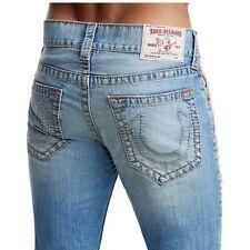 True Religion Men's Big T Old Multi Slim Distressed Jeans w/ Rips in Ocean Tide
