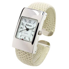 Beige Tan Silver Snake Style Band Small Size Eikon Women's Bangle Cuff Watch
