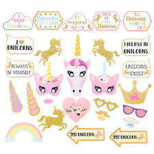 28Pcs Photo Booth Photobooth Birthday Unicorn Pink Props Party Prop DIY Mask